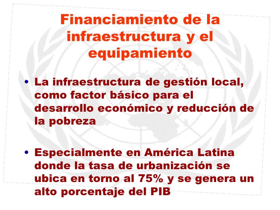 Financiamiento de la infraestructura y el equipamiento La infraestructura de gestión local, como factor básico para el desarrollo económico y reducció