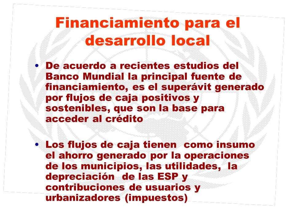 Financiamiento para el desarrollo local De acuerdo a recientes estudios del Banco Mundial la principal fuente de financiamiento, es el superávit gener