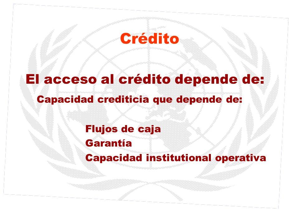 Crédito El acceso al crédito depende de: Capacidad crediticia que depende de: Flujos de caja Garantía Capacidad institutional operativa