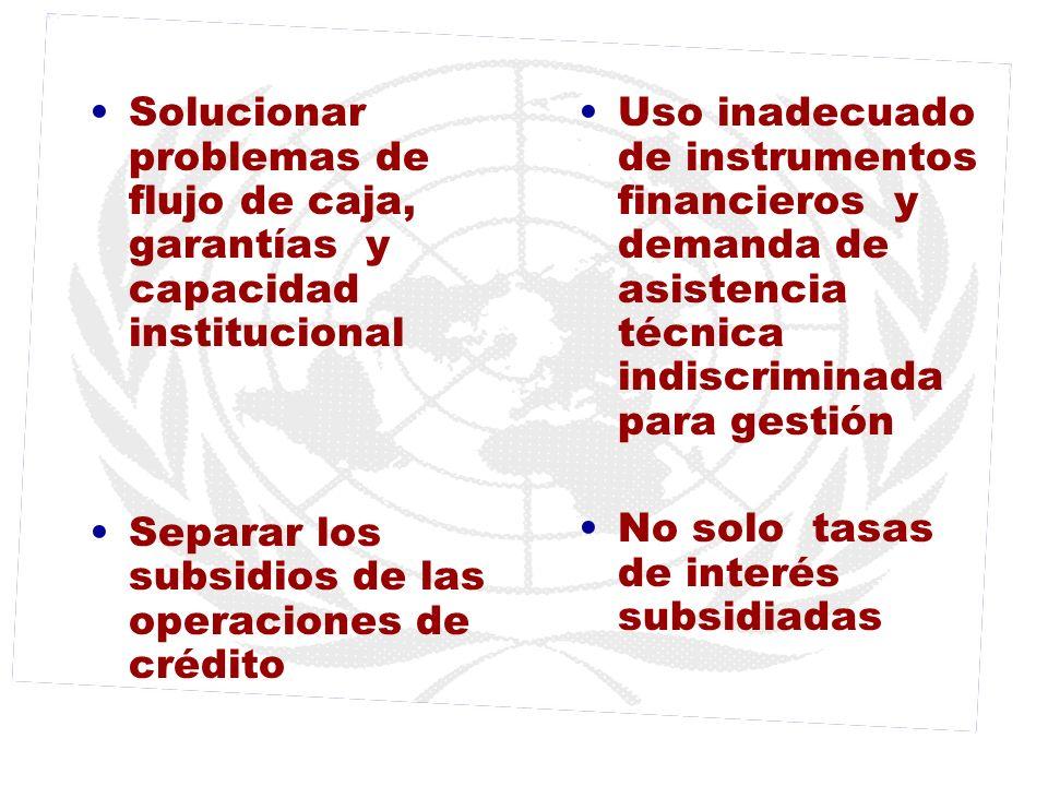 Solucionar problemas de flujo de caja, garantías y capacidad institucional Separar los subsidios de las operaciones de crédito Uso inadecuado de instr