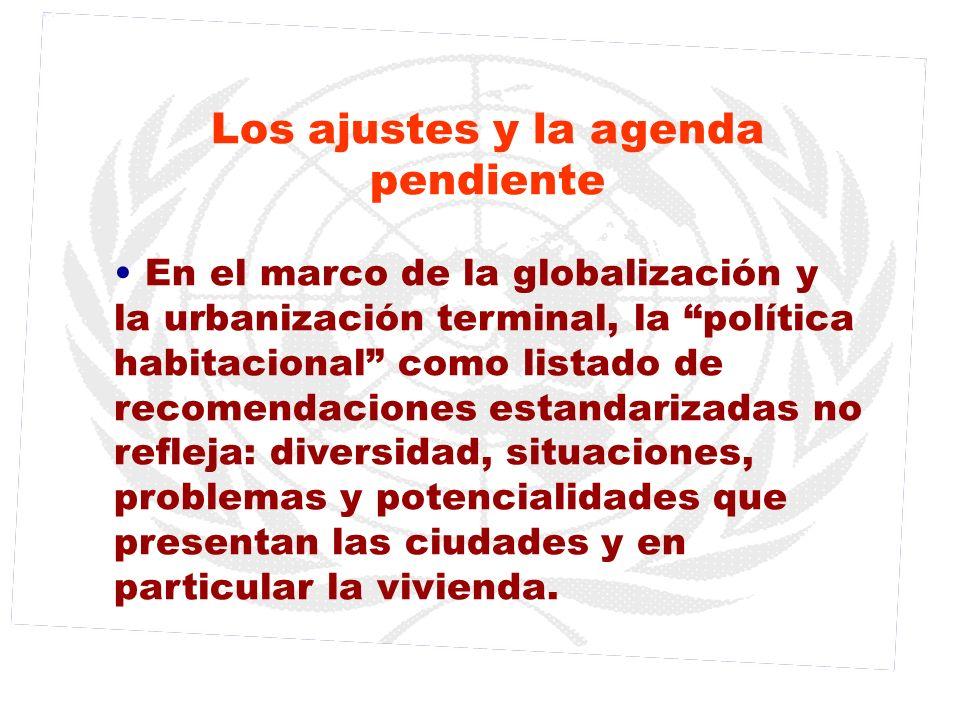 Los ajustes y la agenda pendiente En el marco de la globalización y la urbanización terminal, la política habitacional como listado de recomendaciones