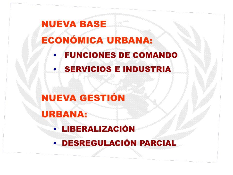 NUEVA BASE ECONÓMICA URBANA: FUNCIONES DE COMANDO SERVICIOS E INDUSTRIA NUEVA GESTIÓN URBANA: LIBERALIZACIÓN DESREGULACIÓN PARCIAL
