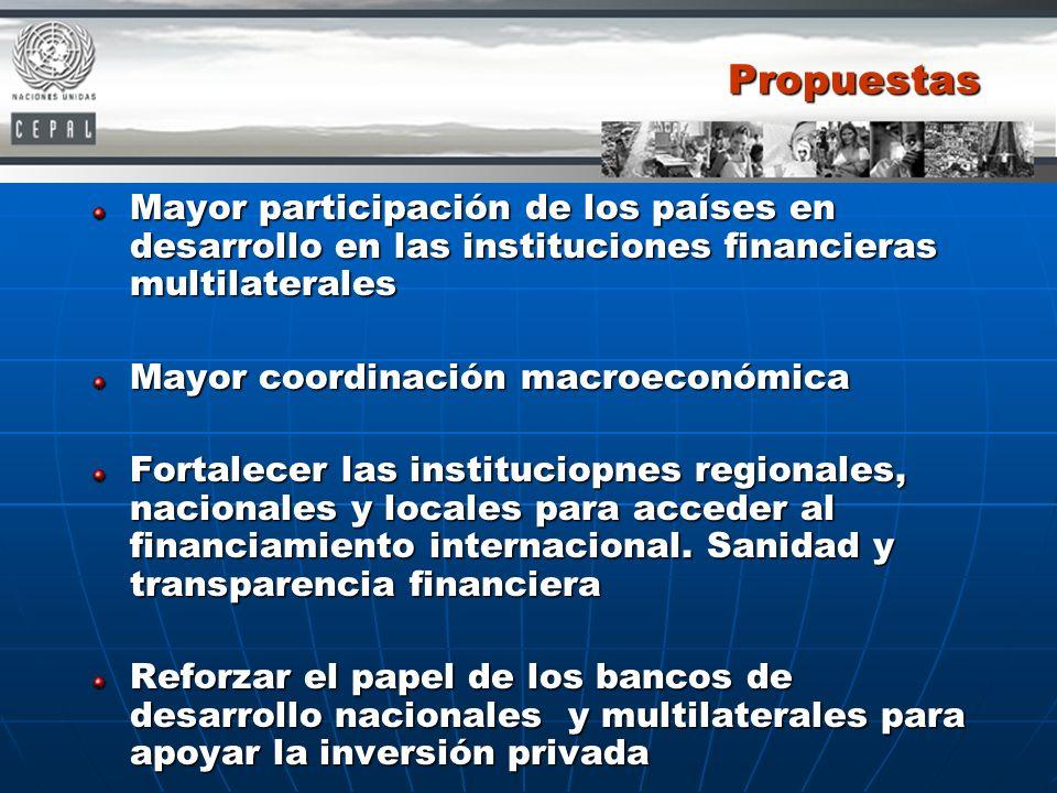 Propuestas Mayor participación de los países en desarrollo en las instituciones financieras multilaterales Mayor coordinación macroeconómica Fortalece