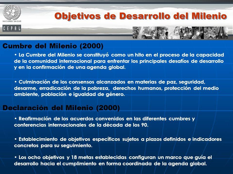 Cumbre del Milenio (2000) La Cumbre del Milenio se constituyó como un hito en el proceso de la capacidad de la comunidad internacional para enfrentar