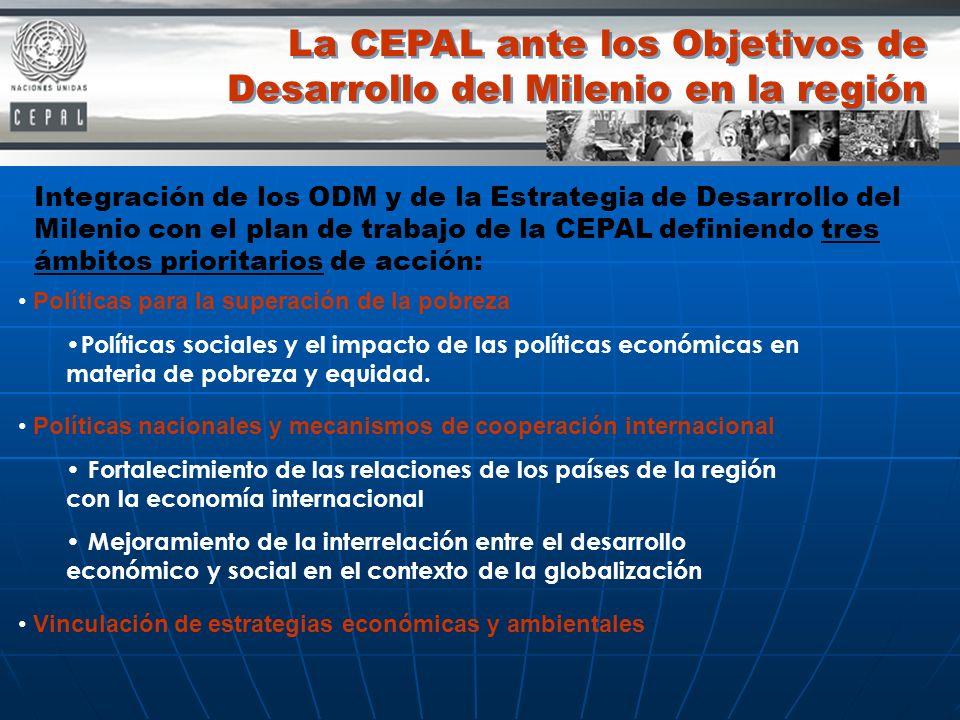 La CEPAL ante los Objetivos de Desarrollo del Milenio en la región Políticas para la superación de la pobreza Políticas sociales y el impacto de las p