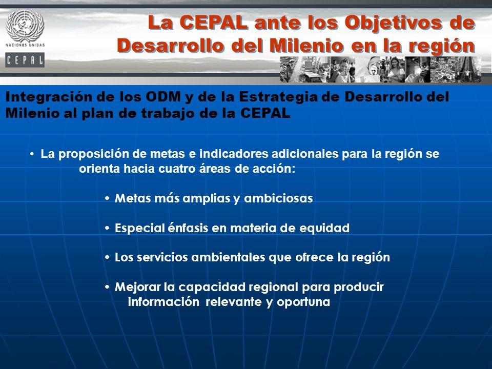 La proposición de metas e indicadores adicionales para la región se orienta hacia cuatro áreas de acción: Metas más amplias y ambiciosas Especial énfa