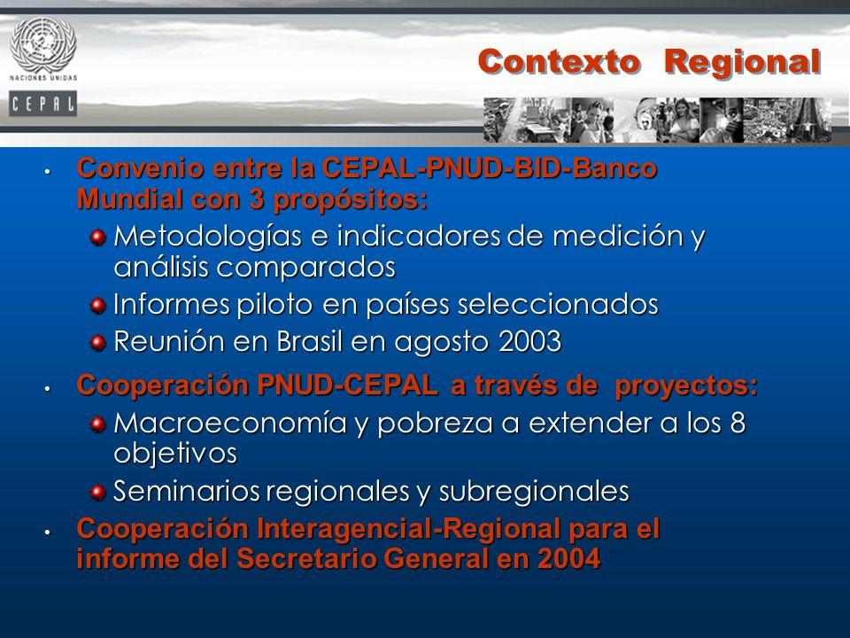 Convenio entre la CEPAL-PNUD-BID-Banco Mundial con 3 propósitos: Convenio entre la CEPAL-PNUD-BID-Banco Mundial con 3 propósitos: Metodologías e indic