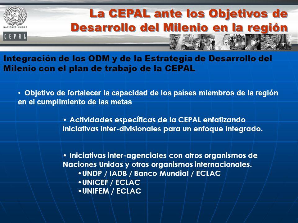 La CEPAL ante los Objetivos de Desarrollo del Milenio en la región Integración de los ODM y de la Estrategia de Desarrollo del Milenio con el plan de