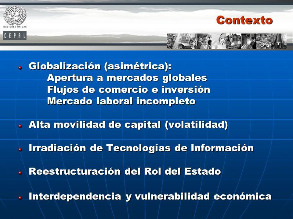Contexto Globalización (asimétrica): Apertura a mercados globales Flujos de comercio e inversión Mercado laboral incompleto Alta movilidad de capital