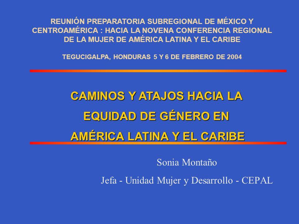 Sonia Montaño Jefa - Unidad Mujer y Desarrollo - CEPAL CAMINOS Y ATAJOS HACIA LA EQUIDAD DE GÉNERO EN AMÉRICA LATINA Y EL CARIBE REUNIÓN PREPARATORIA SUBREGIONAL DE MÉXICO Y CENTROAMÉRICA : HACIA LA NOVENA CONFERENCIA REGIONAL DE LA MUJER DE AMÉRICA LATINA Y EL CARIBE TEGUCIGALPA, HONDURAS 5 Y 6 DE FEBRERO DE 2004