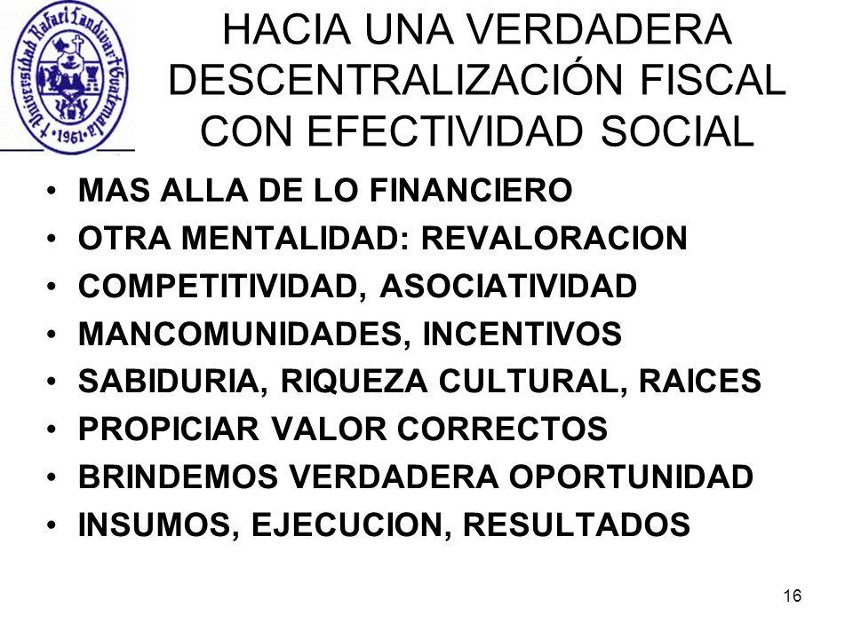 16 HACIA UNA VERDADERA DESCENTRALIZACIÓN FISCAL CON EFECTIVIDAD SOCIAL MAS ALLA DE LO FINANCIERO OTRA MENTALIDAD: REVALORACION COMPETITIVIDAD, ASOCIAT