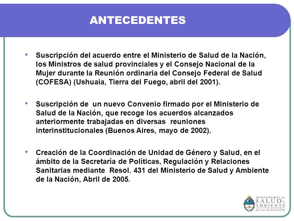 ANTECEDENTES Suscripción del acuerdo entre el Ministerio de Salud de la Nación, los Ministros de salud provinciales y el Consejo Nacional de la Mujer