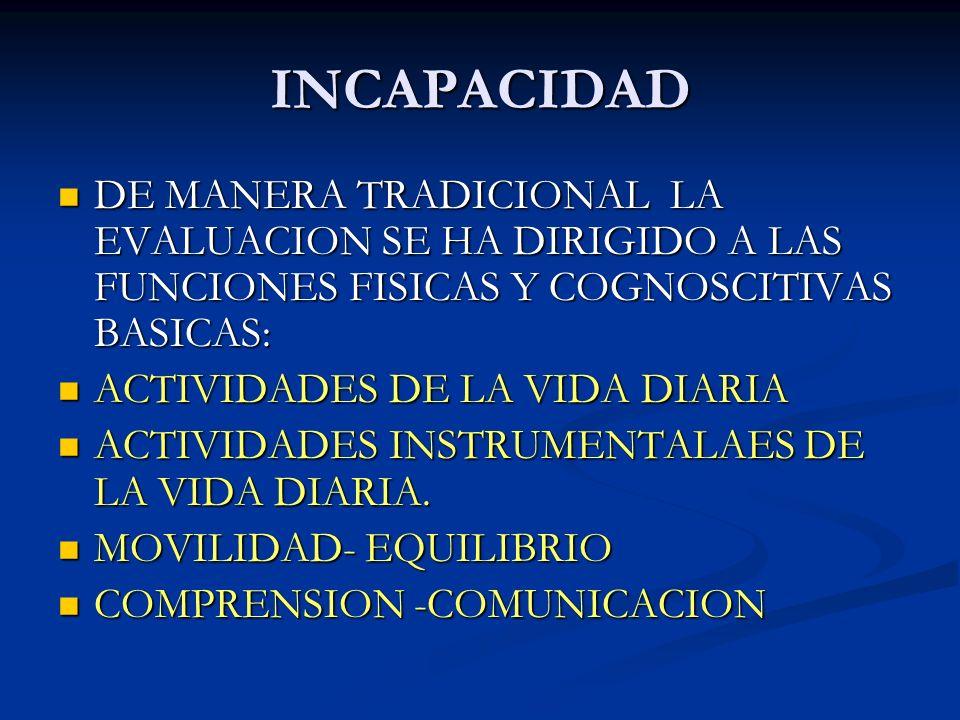 DISCAPACIDAD EL DETERIORO DE LA CAPACIDAD FUNCIONAL PUEDE SER LA UNICA MANIFESTACION DE DIVERSAS ENFERMEDADES EN EL ADULTO MAYOR - LO QUE LE DA TREMENDA IMPORTANCIA A UNA ADECUADA VALORACION GERIATRICA INTEGRAL EL DETERIORO DE LA CAPACIDAD FUNCIONAL PUEDE SER LA UNICA MANIFESTACION DE DIVERSAS ENFERMEDADES EN EL ADULTO MAYOR - LO QUE LE DA TREMENDA IMPORTANCIA A UNA ADECUADA VALORACION GERIATRICA INTEGRAL