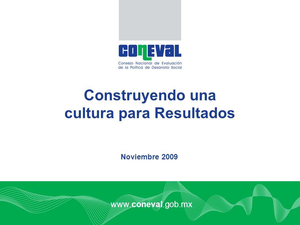 www.coneval.gob.mx Noviembre 2009 Construyendo una cultura para Resultados