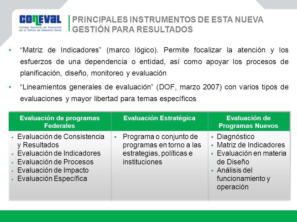 PRINCIPALES INSTRUMENTOS DE ESTA NUEVA GESTIÓN PARA RESULTADOS Matriz de Indicadores (marco lógico). Permite focalizar la atención y los esfuerzos de