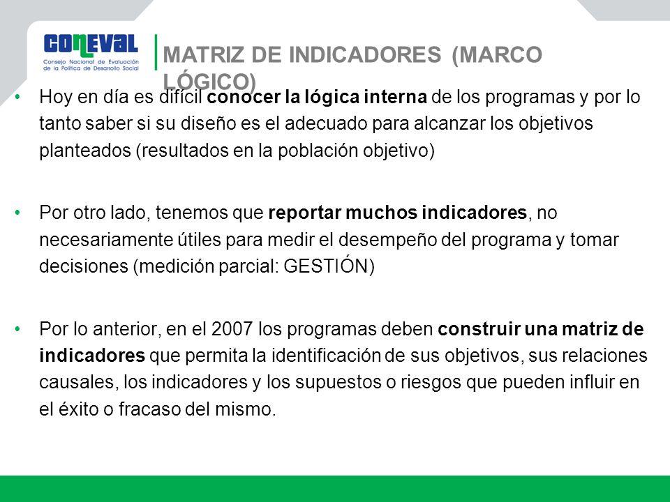 MATRIZ DE INDICADORES (MARCO LÓGICO) Hoy en día es difícil conocer la lógica interna de los programas y por lo tanto saber si su diseño es el adecuado