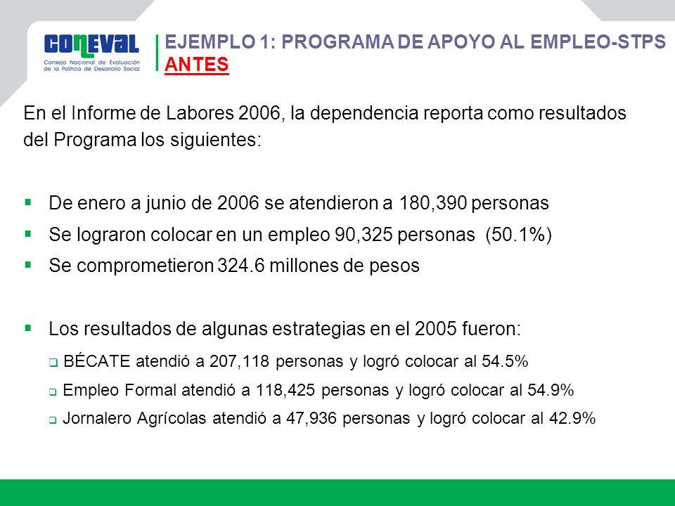 En el Informe de Labores 2006, la dependencia reporta como resultados del Programa los siguientes: De enero a junio de 2006 se atendieron a 180,390 pe