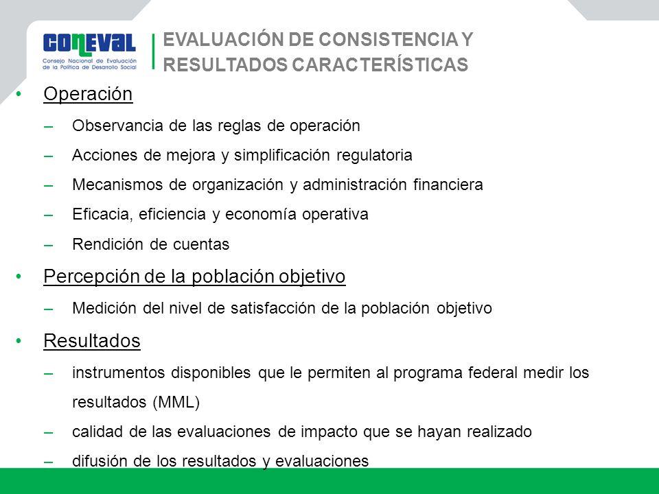 EVALUACIÓN DE CONSISTENCIA Y RESULTADOS CARACTERÍSTICAS Operación –Observancia de las reglas de operación –Acciones de mejora y simplificación regulat