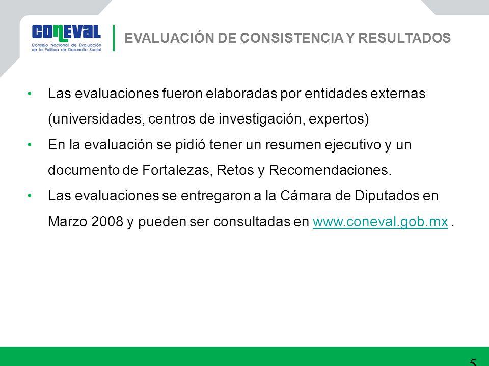 52 Las evaluaciones fueron elaboradas por entidades externas (universidades, centros de investigación, expertos) En la evaluación se pidió tener un re