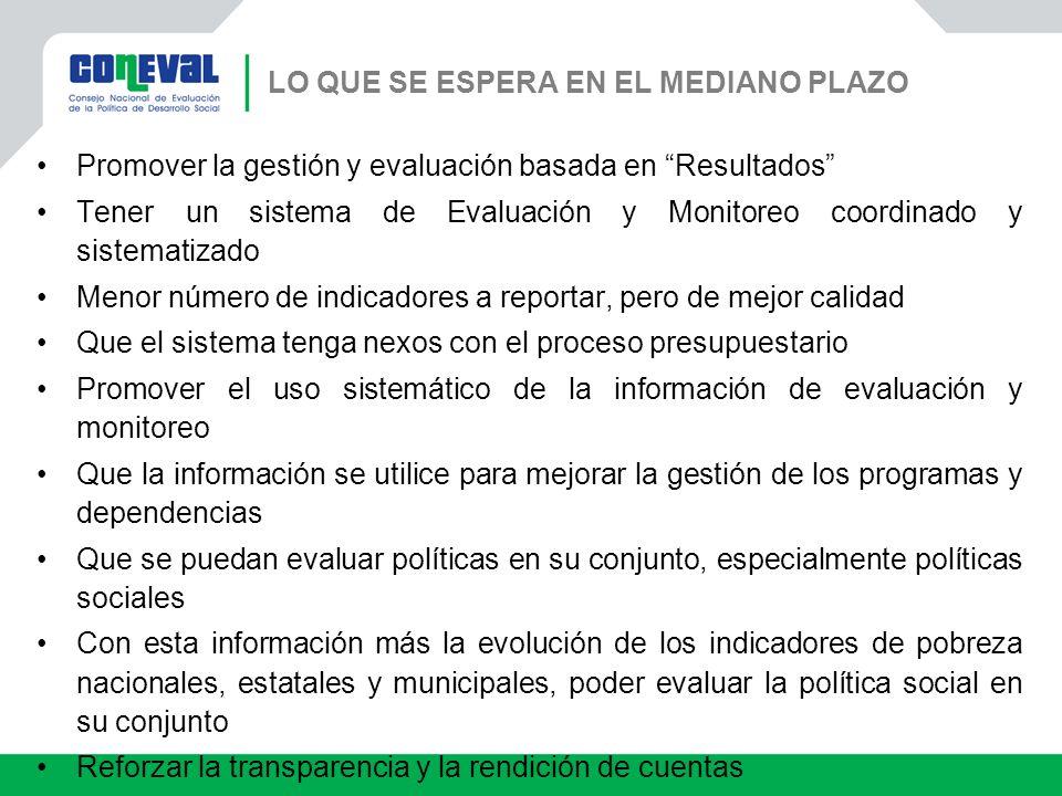 Promover la gestión y evaluación basada en Resultados Tener un sistema de Evaluación y Monitoreo coordinado y sistematizado Menor número de indicadore