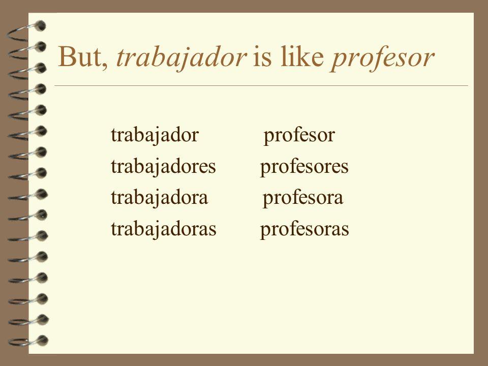 But, trabajador is like profesor trabajador profesor trabajadores profesores trabajadora profesora trabajadoras profesoras