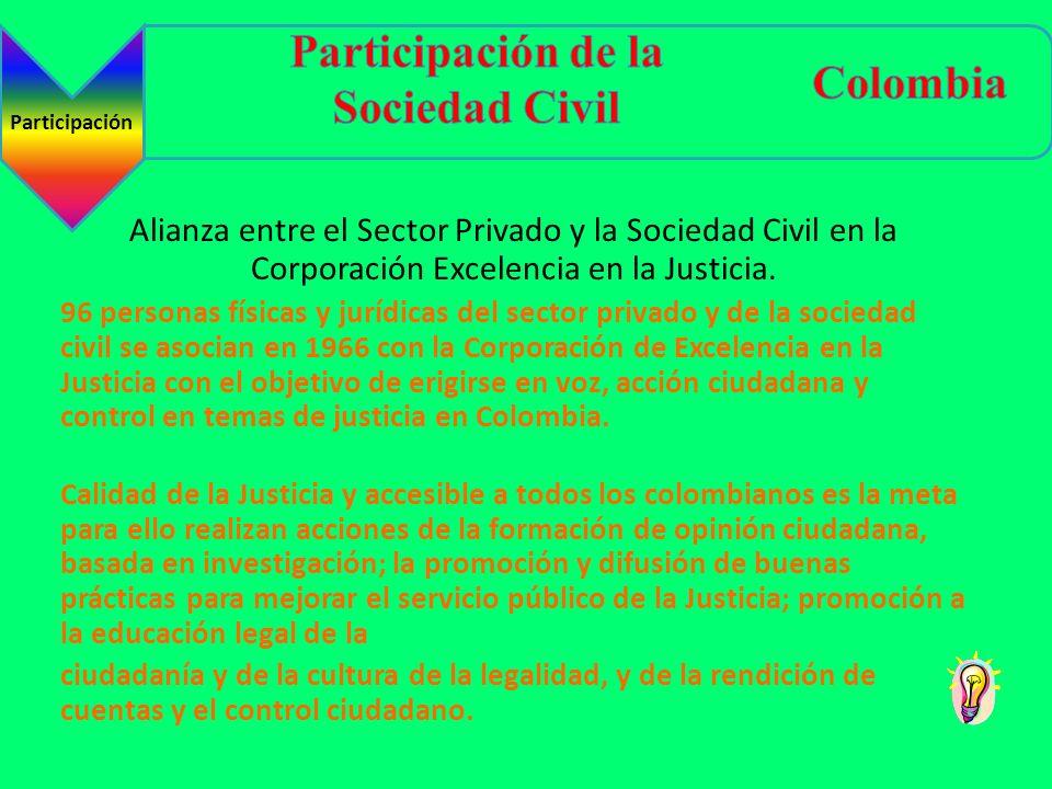 Alianza entre el Sector Privado y la Sociedad Civil en la Corporación Excelencia en la Justicia. 96 personas físicas y jurídicas del sector privado y