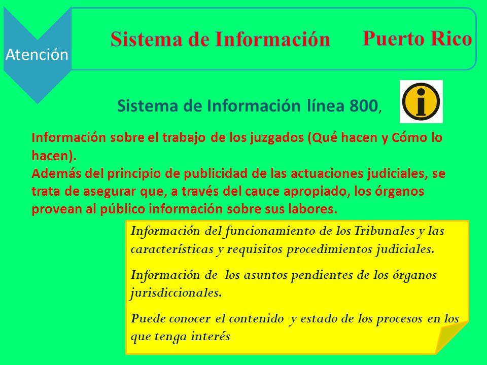 Sistema de Información línea 800, Información sobre el trabajo de los juzgados (Qué hacen y Cómo lo hacen). Además del principio de publicidad de las