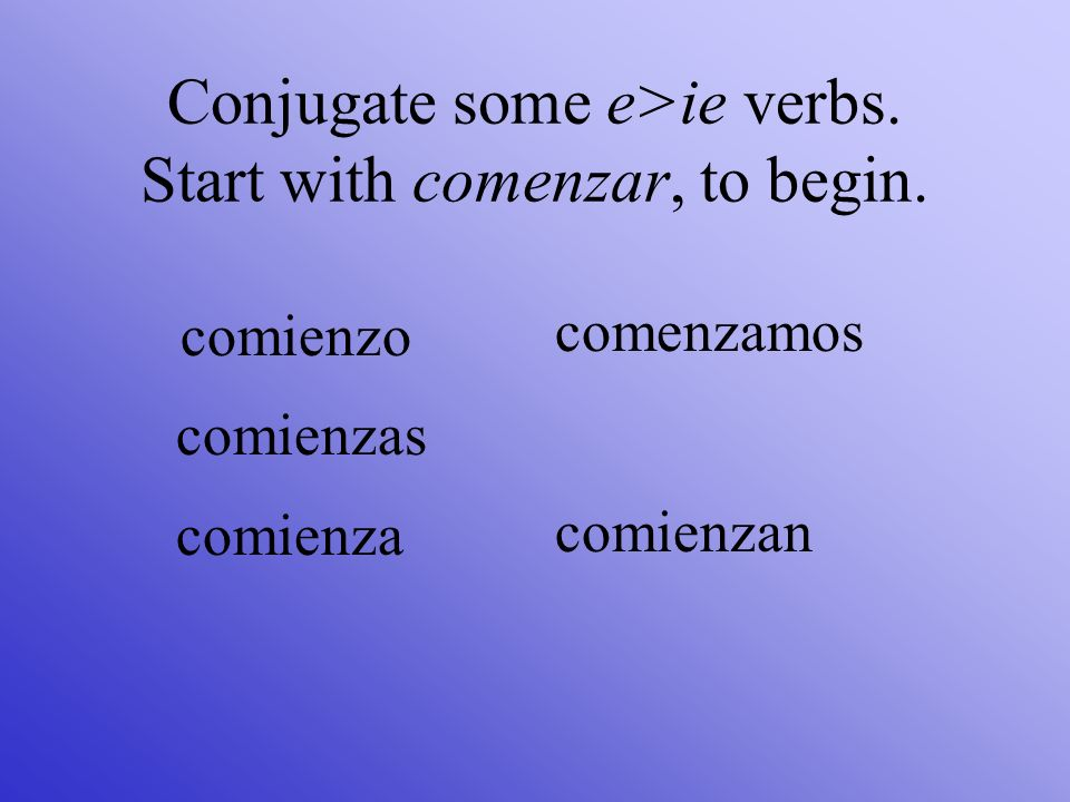 Some -ir verbs, like pedir, to ask for, change e> i. pido pides pide pedimos piden