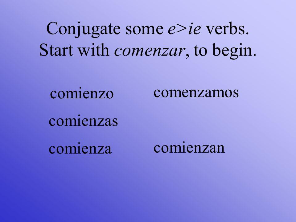 Conjugate empezar, to begin. empiezo empiezas empieza empezamos empiezan