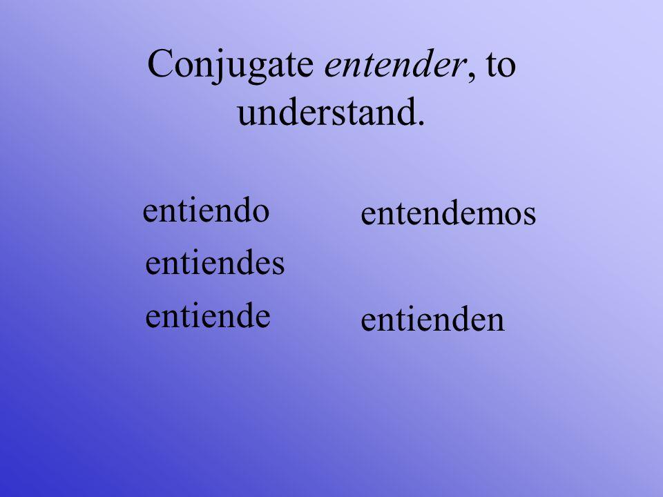 Conjugate entender, to understand. entiendo entiendes entiende entendemos entienden