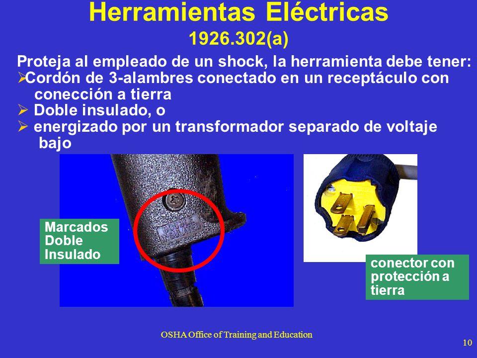 OSHA Office of Training and Education 10 Proteja al empleado de un shock, la herramienta debe tener: Cordón de 3-alambres conectado en un receptáculo