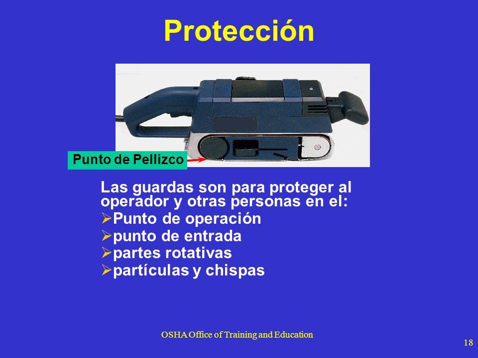 OSHA Office of Training and Education 18 Protección Las guardas son para proteger al operador y otras personas en el: Punto de operación punto de entr
