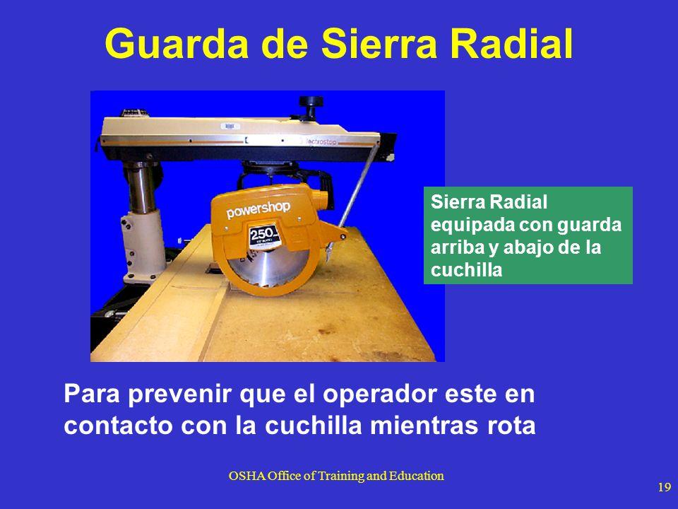 OSHA Office of Training and Education 19 Para prevenir que el operador este en contacto con la cuchilla mientras rota Guarda de Sierra Radial Sierra R