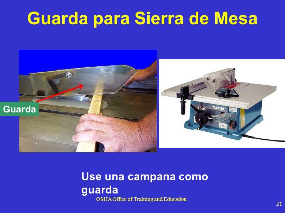 OSHA Office of Training and Education 21 Use una campana como guarda Guarda Guarda para Sierra de Mesa