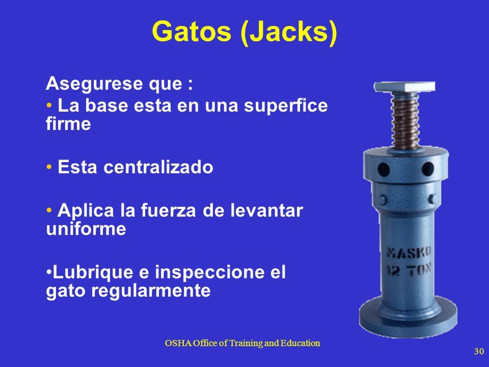 OSHA Office of Training and Education 30 Gatos (Jacks) Asegurese que : La base esta en una superfice firme Esta centralizado Aplica la fuerza de levan