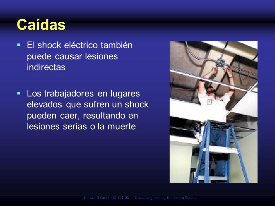 Harwood Grant 46F1-HT06 - Texas Engineering Extension Service Caídas El shock eléctrico también puede causar lesiones indirectas Los trabajadores en l