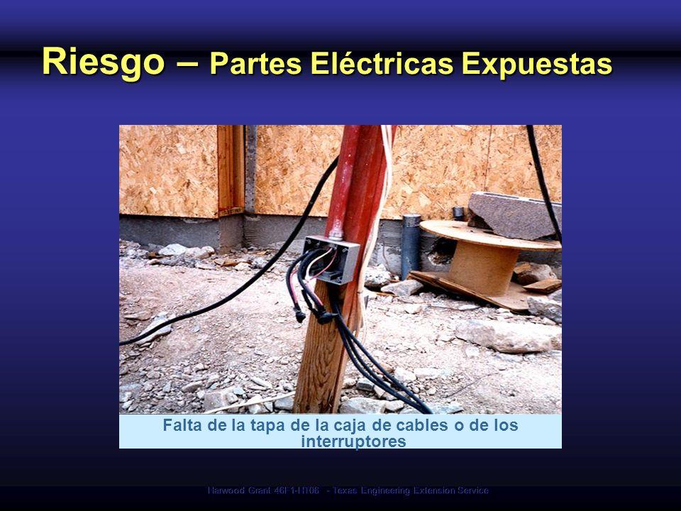 Harwood Grant 46F1-HT06 - Texas Engineering Extension Service Riesgo – Partes Eléctricas Expuestas Falta de la tapa de la caja de cables o de los inte