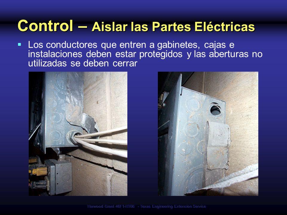 Harwood Grant 46F1-HT06 - Texas Engineering Extension Service Control – Aislar las Partes Eléctricas Los conductores que entren a gabinetes, cajas e i