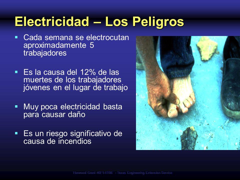 Harwood Grant 46F1-HT06 - Texas Engineering Extension Service Electricidad – Los Peligros Cada semana se electrocutan aproximadamente 5 trabajadores E