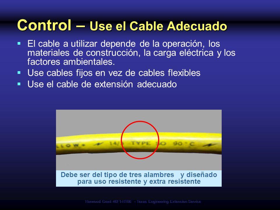 Harwood Grant 46F1-HT06 - Texas Engineering Extension Service Control – Use el Cable Adecuado El cable a utilizar depende de la operación, los materia