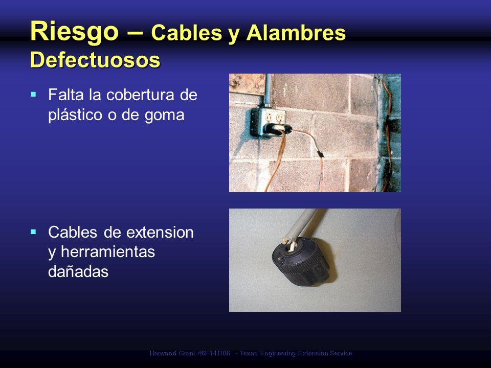 Harwood Grant 46F1-HT06 - Texas Engineering Extension Service Riesgo – Cables y Alambres Defectuosos Falta la cobertura de plástico o de goma Cables d