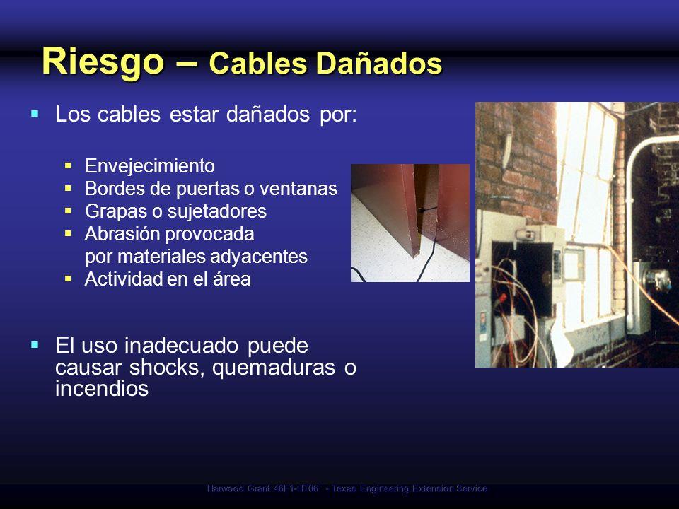 Harwood Grant 46F1-HT06 - Texas Engineering Extension Service Riesgo – Cables Dañados Los cables estar dañados por: Envejecimiento Bordes de puertas o