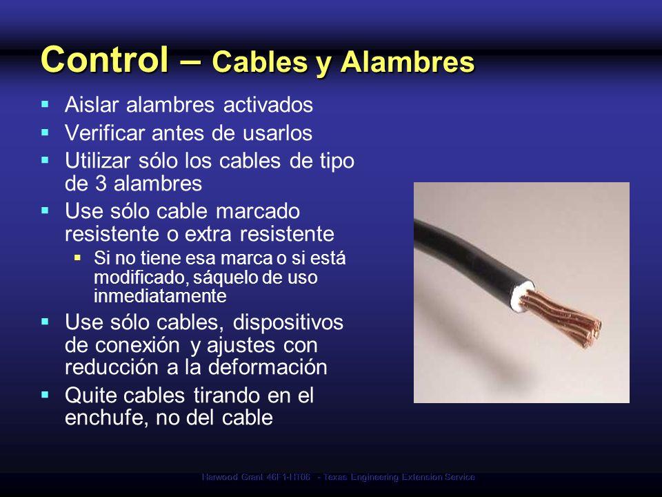 Harwood Grant 46F1-HT06 - Texas Engineering Extension Service Control – Cables y Alambres Aislar alambres activados Verificar antes de usarlos Utiliza