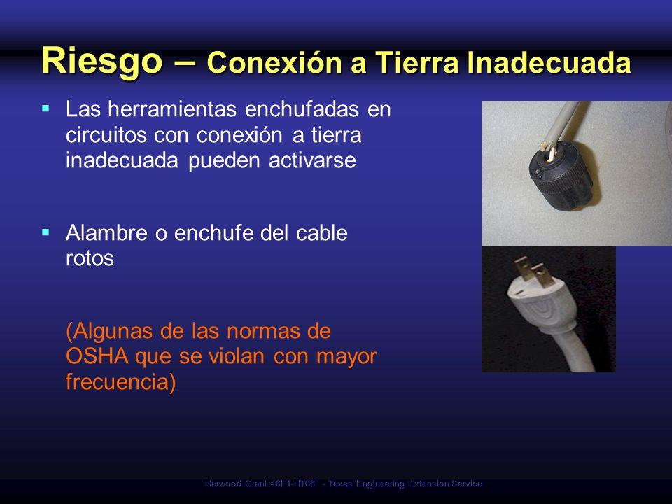 Harwood Grant 46F1-HT06 - Texas Engineering Extension Service Riesgo – Conexión a Tierra Inadecuada Las herramientas enchufadas en circuitos con conex