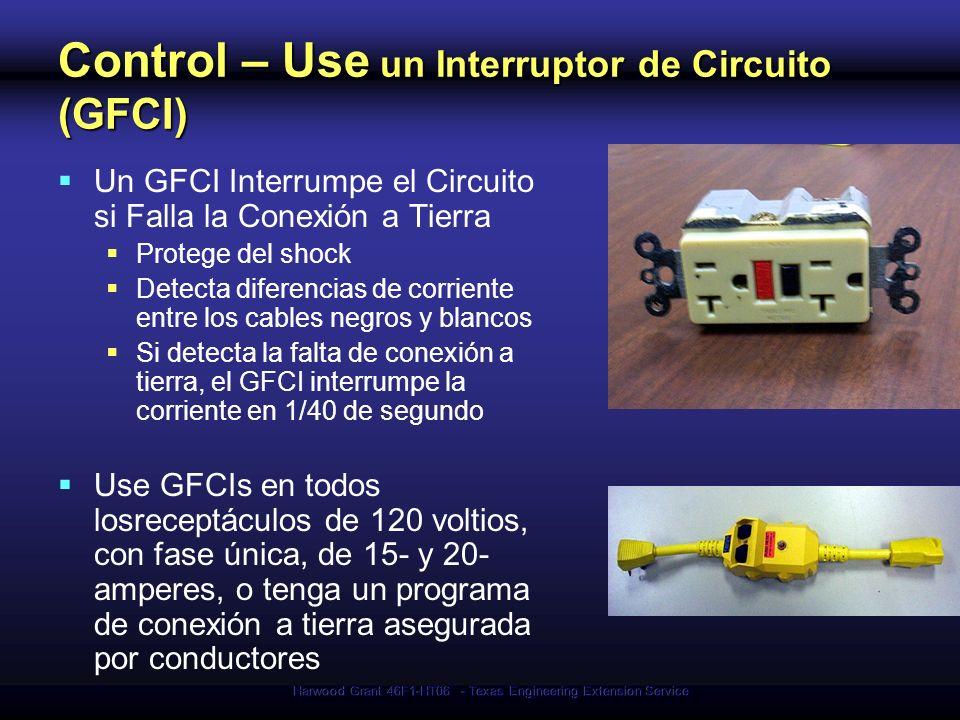 Harwood Grant 46F1-HT06 - Texas Engineering Extension Service Control – Use un Interruptor de Circuito (GFCI) Un GFCI Interrumpe el Circuito si Falla