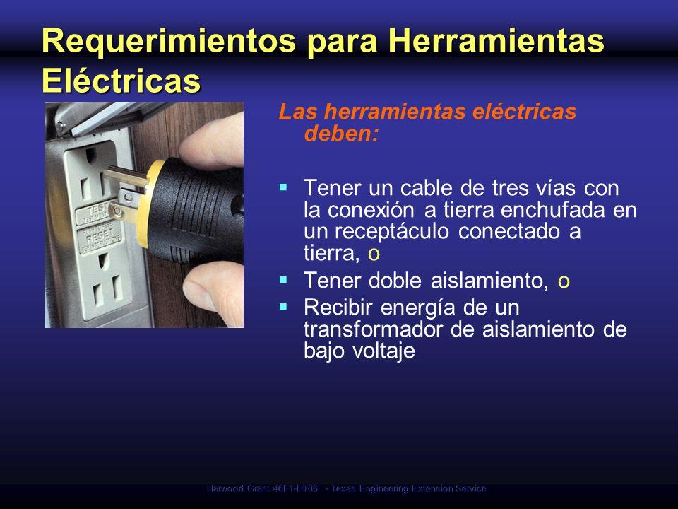 Harwood Grant 46F1-HT06 - Texas Engineering Extension Service Requerimientos para Herramientas Eléctricas Las herramientas eléctricas deben: Tener un