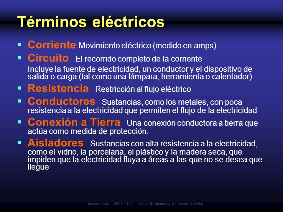 Harwood Grant 46F1-HT06 - Texas Engineering Extension Service Términos eléctricos Corriente Movimiento eléctrico (medido en amps) Circuito El recorrid