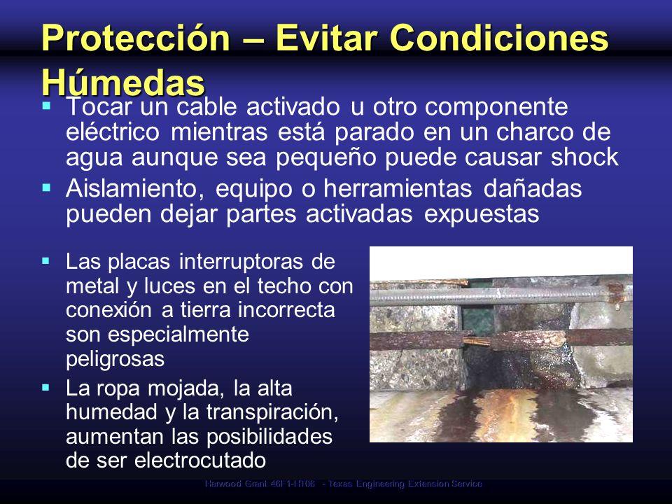 Harwood Grant 46F1-HT06 - Texas Engineering Extension Service Protección – Evitar Condiciones Húmedas Tocar un cable activado u otro componente eléctr