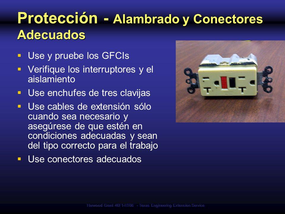 Harwood Grant 46F1-HT06 - Texas Engineering Extension Service Protección - Alambrado y Conectores Adecuados Use y pruebe los GFCIs Verifique los inter