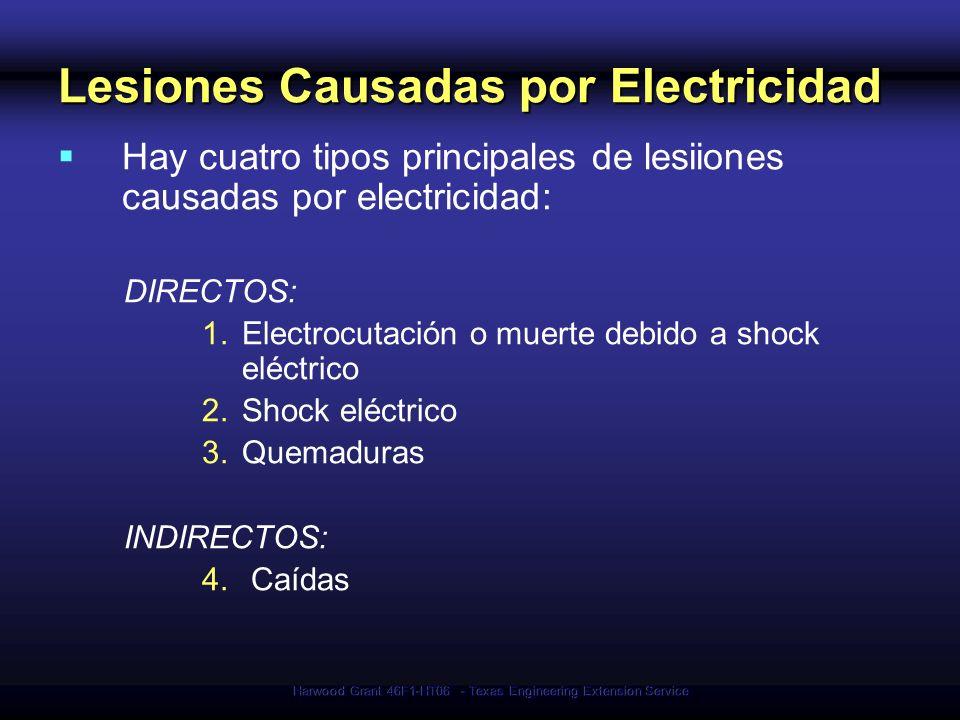 Harwood Grant 46F1-HT06 - Texas Engineering Extension Service Síntesis - Requerimientos El equipo eléctrico debe: Estar listo y etiquetado Estar libre de riesgos Ser usado de modo adecuado Los trabajadores deben: Estar protegidos de shock eléctrico Ser provistos con el equipo de seguridad necesario